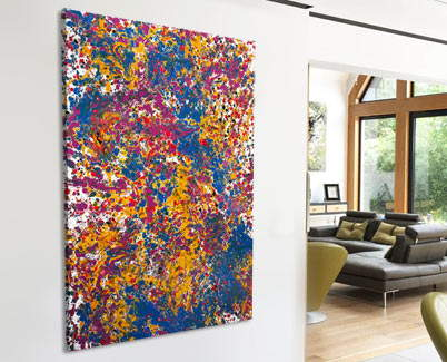 yellow, blue and pink painting