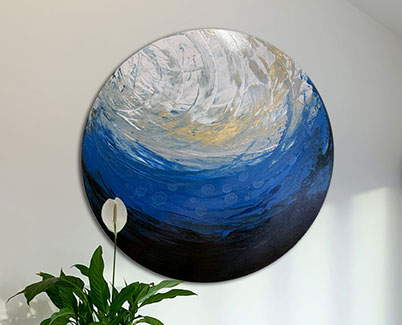 blue black and silver painting